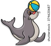 seal playing with ball | Shutterstock .eps vector #374620687