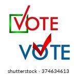 voting symbols vector design.... | Shutterstock .eps vector #374634613
