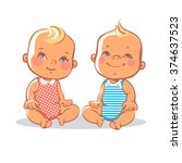 smiling toddler boy and girl... | Shutterstock .eps vector #374637523