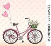bicycle with balloons and a... | Shutterstock .eps vector #374669383