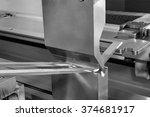 operator bending metal sheet by ... | Shutterstock . vector #374681917