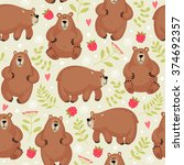 seamless pattern with a bear | Shutterstock .eps vector #374692357