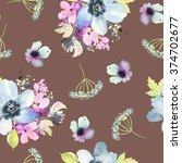 seamless pattern with flowers... | Shutterstock . vector #374702677