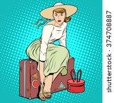 the girl passenger luggage | Shutterstock .eps vector #374708887