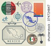 travel stamps set  mexico ... | Shutterstock .eps vector #374724847