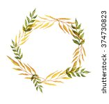 wreath of yellow and green... | Shutterstock . vector #374730823