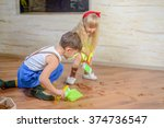 young boy and girl helping to...   Shutterstock . vector #374736547