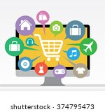 computer with awning and basket ... | Shutterstock .eps vector #374795473
