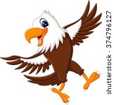 cartoon bald eagle standing... | Shutterstock .eps vector #374796127