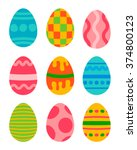 easter eggs vector icons flat... | Shutterstock .eps vector #374800123