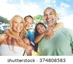 family playing outdoors... | Shutterstock . vector #374808583