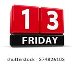 red cubes   13th friday   on a... | Shutterstock . vector #374826103