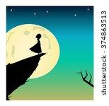 vector silhouette of girl in... | Shutterstock .eps vector #374863513