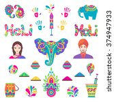 set of holi flat icons in