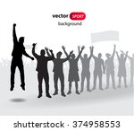 crowd of fans for sports and... | Shutterstock .eps vector #374958553