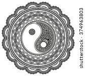 vector henna tatoo mandala. yin ...   Shutterstock .eps vector #374963803