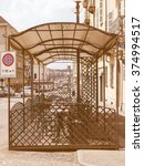 Small photo of TURIN, ITALY - CIRCA AUGUST 2012: View of the city from an alfresco bar vintage