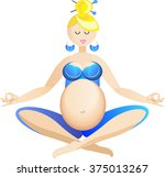 Pregnant Woman Doing Yoga  ...