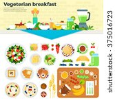 vegetarian breakfast vector... | Shutterstock .eps vector #375016723