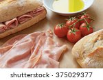 ciabatta sandwich with ham  | Shutterstock . vector #375029377
