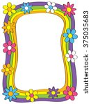a flowery border with a retro...   Shutterstock .eps vector #375035683