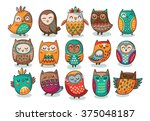 set of tribal owls | Shutterstock .eps vector #375048187