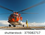 helicopter on the upper deck of ... | Shutterstock . vector #375082717