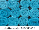 blue rolled towels.   Shutterstock . vector #375083617