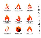 set of various fire symbols and ... | Shutterstock .eps vector #375142297