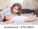 portrait of a little girl... | Shutterstock . vector #375178837