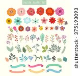 vector set of flowers and... | Shutterstock .eps vector #375193093