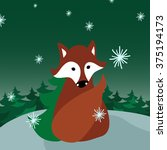 fox sits alone in the evening... | Shutterstock .eps vector #375194173