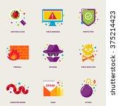 computer virus vector icons set ... | Shutterstock .eps vector #375214423