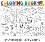 coloring book two pigs near... | Shutterstock .eps vector #375235843