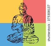buddha   tribal buddha   seated ... | Shutterstock .eps vector #375308137