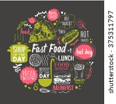 Sketch Funny Food Lettering An...