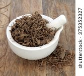 Small photo of Black cohosh root herb used in natural alternative herbal medicine over old wood background. Used to treat menopausal and pre menstrual symptoms in women. Actaea racemosa.