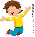 happy boy and jump | Shutterstock .eps vector #375354187
