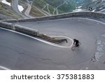 early morning alpine cycling  | Shutterstock . vector #375381883