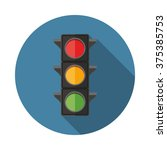 Traffic Lights Flat Icon With...