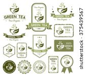 green tea labels  badges ... | Shutterstock .eps vector #375439567