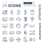 set vector line icons in flat... | Shutterstock .eps vector #375447673