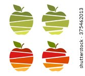 sliced apples  bright and fun | Shutterstock .eps vector #375462013