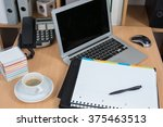 laptop  computer with folder on ... | Shutterstock . vector #375463513