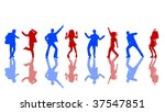 blue and red dancing silhouettes | Shutterstock . vector #37547851