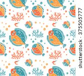 vector seamless pattern in... | Shutterstock .eps vector #375505777
