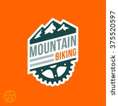 mountain biking badge logo with ...