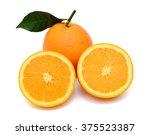 orange fruit with half isolated ... | Shutterstock . vector #375523387