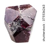 Small photo of macro shooting of natural mineral stone - crystal of garnet (almandine) rock isolated on white background
