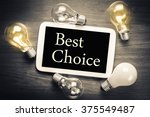 Small photo of Best Choice topic on mobile tablet with glowing light bulbs on the table